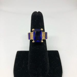 Blue and gold cocktail ring